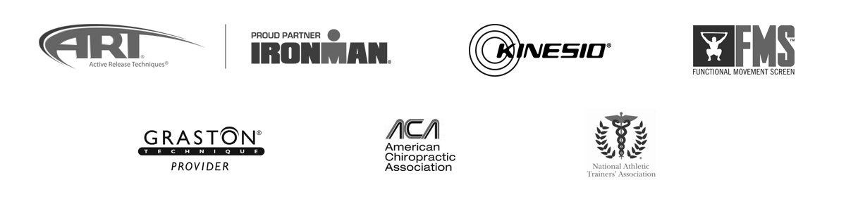 Active Release Technique , Ironman, Kinesio, Functional Movement Screen, Graston and other logos