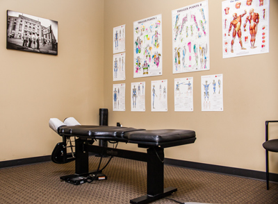 A table used by a sports medicine chiropractor in an chiropractic office